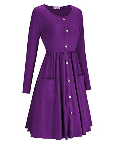 Robes De Femmes Kilig Manches Longues Bouton Casual Basculer Vers Le Bas Poches Robe Midi Violet-1
