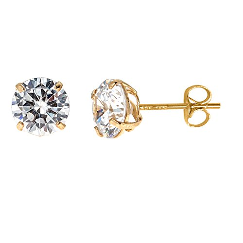 14k Solid Yellow Gold 5mm Cubic Zirconia Stud Earrings 1ct Basket Setting 14k Yellow Gold Setting