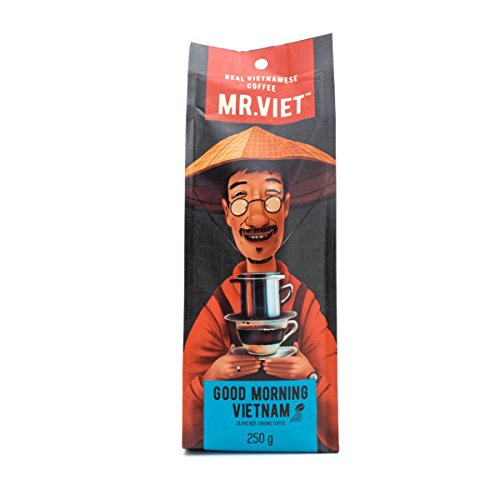 Mr Viet Good Morning Vietnam Ground Coffee | Fresh and Promptly Delivered from Vietnam - Ground Coffee Roasted Authentic Vietnamese Strong Blend, Suitable for All Coffee Machines 250g (Vietnam Tea Set)