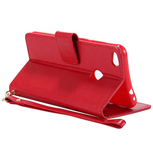 Coque Pochette P8 pourpre Étui Ougger Huawei Fente Cover Pu Lite Etui Magnétique Rouge Housse Protecteur 2017 Pour Caoutchouc Avec Carte Silicone Flip Bling Cuir f8xqxap