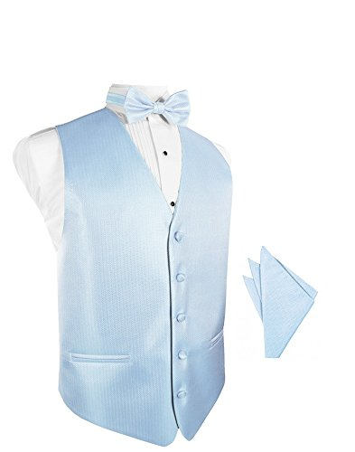 Powder Blue Herringbone Tuxedo Vest with Bowtie & Pocket Square Set ()