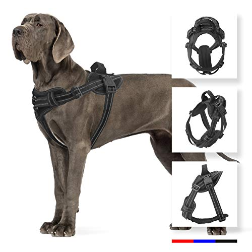 - voopet Service Dog Harness, No Pull Dog Training Vest Harness with Handle - Reflective Adjustable Outdoor Pet Easy Walking Harness for Small Medium Large Dogs