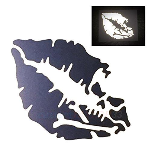 customTAYLOR33 High Intensity Reflective Vinyl Death Kiss Skull Crossbones Lips Decal Bumper Sticker - Cars, Motorcycles, Helmets, Wind Screens, laptops, cellphones, (Black, 6 inch (Reflective Decal Vinyl Sticker)