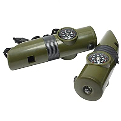 Ynport Outdoor Hiking Survival 7 in 1 Multi-Tool Emergency Whistle Compass Thermometer with Signal Mirror/Survival Rope/Magnifying Glass/Whistle/Compass/Thermometer/LED Fire Magnifier/Lanyard/Light by Ynport