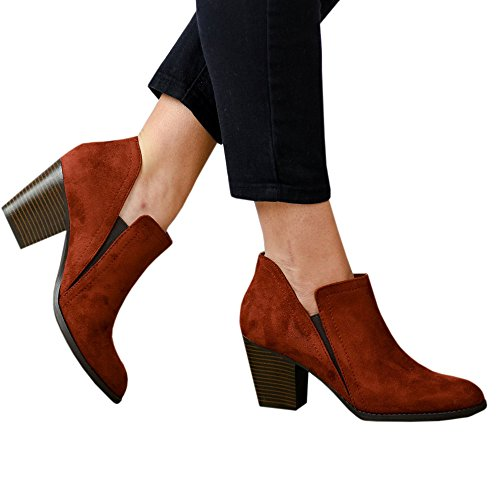 Toe Chunky Ankle Cutout Womens Stacked Boots Booties Chelsea red Closed Block Slip B on Heel H0nzCnS4