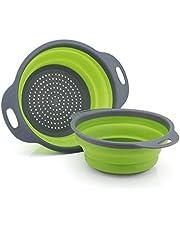 GCBTECH Opvouwbaar vergiet met handvat, 2 stukken opvouwbare siliconen zeef Keuken camping accessoires, Giet pasta rijst groenten fruit af (Groen)