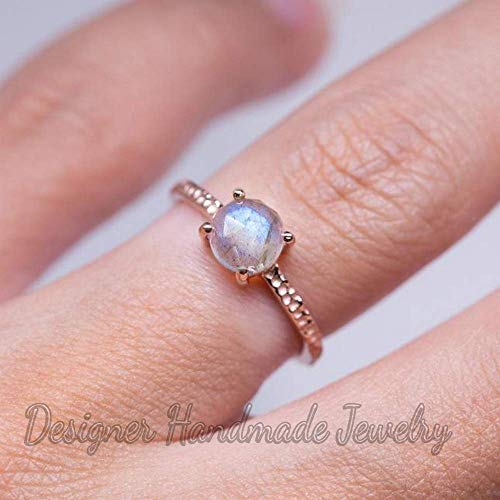 (natural labradorite womans ring, rose gold vermeil jewelry smooth labredorite ring, solid 925 sterling silver jewelry, designer handmade ring, blue fire labradorite ring, mother's day gift ring )