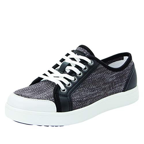 TRAQ BY ALEGRIA Sneaq Womens Smart Walking Shoe Washed Black 7 US Black Womens Smart Shoe
