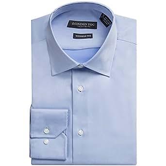 London fog men 39 s modern fit long sleeve solid dress shirt for Modern fit dress shirt