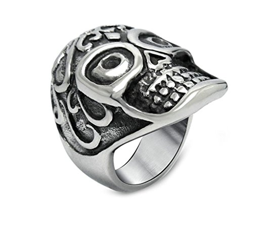[Moandy Mens Stainless Steel Ring Vintage Retro Classic Pattern Skull Punk Rock Rings,Black Silver] (Johnny Depp Wolf Costume)
