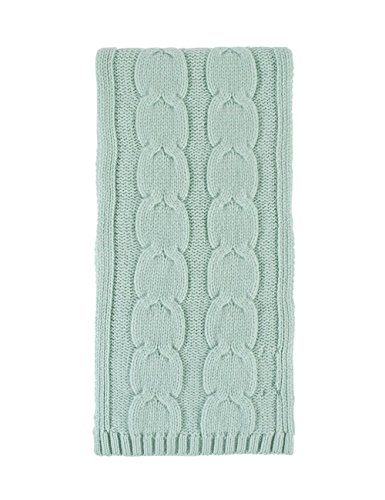 Great and British Knitwear Ladies 100 Percent Cashmere Cable Knit Scarf. Made In Scotland-Peridot (Scarf Cashmere Knit Cable)