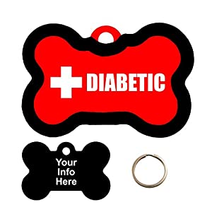 Customized Medical Alert DIABETIC Pet Tag - Bone Shape Dog Tag