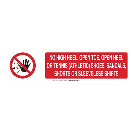 "Brady 140759 Polystyrene""NO HIGH Heel, Open Toe, Open Heel OR Tennis (Athletic) Shoes, Sandals, Shorts OR Sleeveless Shirts"" Safety Sign Slider Insert, 6"" Height x 23.875"" Width, Black/Red/White"