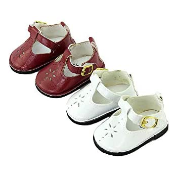 "Burgundy shoes for 14/"" Wellie Wishers doll American Girl accessories Mary Jane"