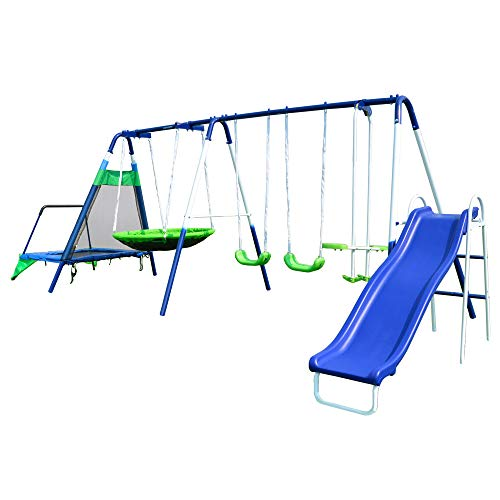 - Sportspower Mountain View Metal Swing, Slide and Trampoline Set