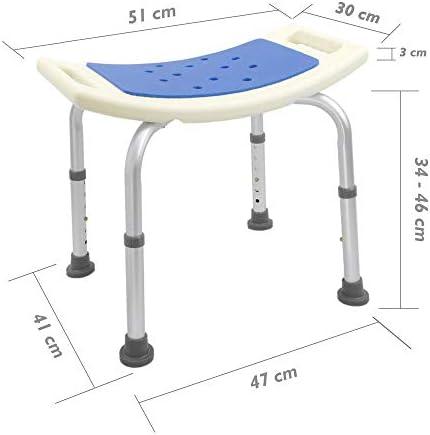 PrimeMatik - Sgabello per Vasca ergonomico da Doccia Altezza Regolabile con Imbottitura