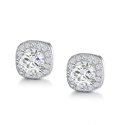 (Sterling Silver White Gold Plated Cubic Zirconia Simple Small Halo Square Stud Earring For Women&Men,10mm)