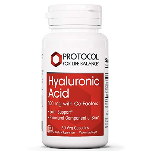 Protocol For Life Balance - Hyaluronic Acid - 100 mg with Co-Factors for Overall Tissue Health Including Joint Support and Skin Hydration - 60 Veg Capsules