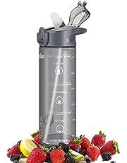 IceFrog Trinkflasche Wasserflasche Auslaufsicher,Sportflasche Für Kinder Schule,Fahrrad Trinkflaschen Mit Filter, Für Gym, Laufen, Open Mit 1-Click Tritan Sport Flasche 850ML BPA Frei Tritan