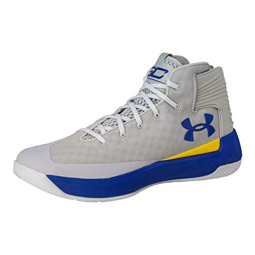 Under Armour Mens Curry 3 Basketball Shoe (9.5 M US, Grey/Taxi/Royal Blue)