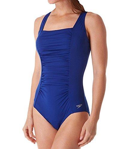Speedo Shirred Tank Endurance+ One Piece Swimsuit, Northern Blue, Size - Pbt Inc