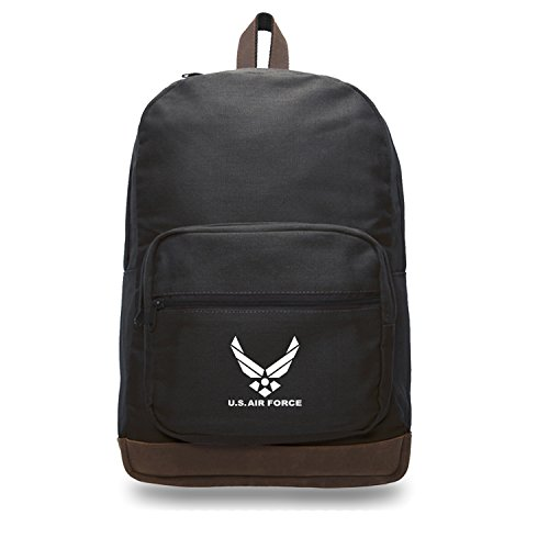 - US Air Force Canvas Teardrop Backpack with Leather Bottom Accents, Black