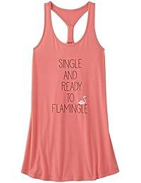 Womens Single & Ready To Flamingle Racer Back Sleep Shirt Nightgown