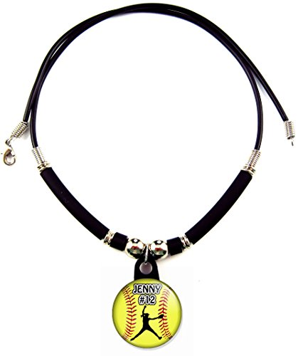 (SpotlightJewels Personalized Softball Pitcher Necklace with Your Name and Number, PERSONALIZE BY EMAIL)