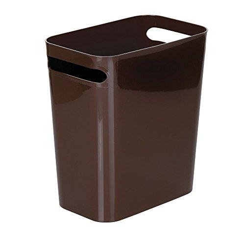 mDesign Slim Plastic Rectangular Large Trash Can Wastebasket, Garbage Container Bin, Handles for Bathroom, Kitchen, Home Office, Dorm, Kids Room - 12 High, Shatter-Resistant - Dark Brown