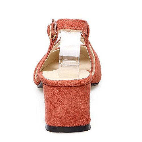 TAOFFEN Mujer Cruzado Correa de Tobillo Slingback Sandalias Tacon Medio Ancho Zapatos Naranja