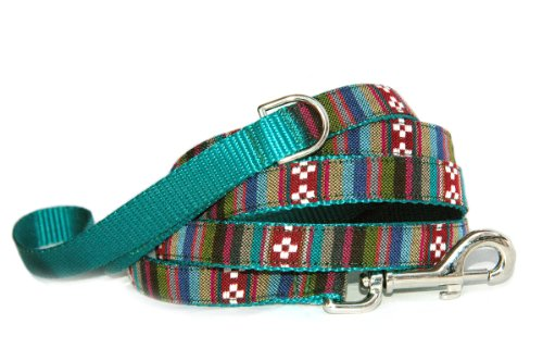 Southwestern topaz stripe dog leash : Tribal, Navajo, Native American, Mexican inspired jaqcuard fabric on durable nylon designer unique Handmade pet leash for small dogs to large dogs. Made in the U.S.A.