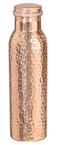Avs Stores 900 ML Traveller's 100 % Pure Copper Hammered Water Bottle,Joint Free-Ayurveda Health Benefits