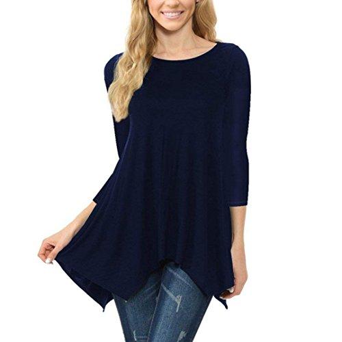 Rakkiss_Vintage Dress Clearance!Rakkiss Women Tops Blouse Tee Ladies Long Sleeve Stripe Irregular Hem Round Neck Casual Shirt ()