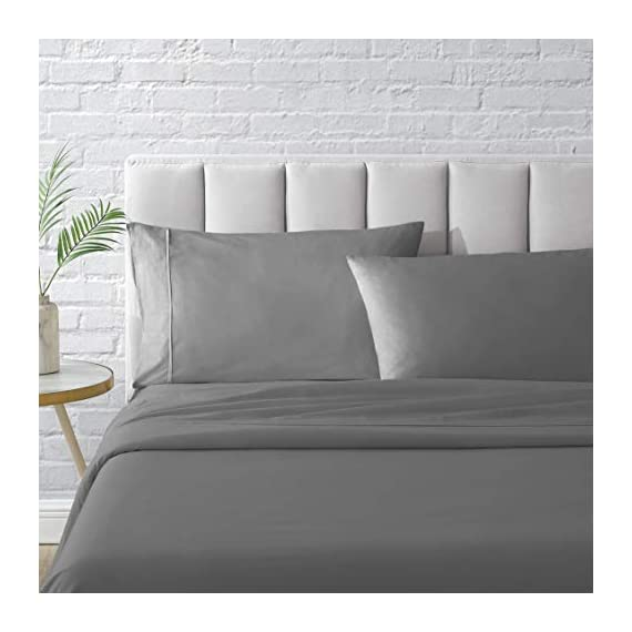 "Bellagio Organic Cotton Sheet Set - GOTS Certified - Long Staple Heirloom Percale - 4 Piece Bedding (Charcoal, Queen) - ULTIMATE ORGANIC COTTON SHEETS - Experience the luxury and durability of Bellagio hotel bed sheets & crisp pillowcases. You'll adore our breathable Queen & King Sheets. Woven with long staple organic cotton for a gorgeous weave. Our eco-friendly sheets retain softness for a lifetime and resist fading. Its the Bellagio promise. QUEEN SIZE LUXURY 4PC BED SHEETS SET - 1 Flat Sheet: 90"" W x 102"" L; 1 Fully Elasticized all around Fitted Sheet: 60"" W x 80"" L + 16"" finished deep pocket to fit mattresses from 9"" to 18""; and 2 Standard Pillowcases: 21"" W x 30"" L. EASY HOME LAUNDRY - Free of harmful synthetic dyes for a healthier you and healthier planet. Recommended for regular wash for superior softness GOTS ORGANIC CERTIFIED - ZERO CHEMICAL. From the cotton fiber to final product. Free of harmful dyes or finishing agents. No use of synthetic pesticides on the cotton or synthetic fertilizers. Our fabric is tested for meeting performance: no pilling, shrinkage, color fastness & tear; Before being individually measured and stitched to perfection. Then it is inspected, piece by piece, to be defect free and packed as set - sheet-sets, bedroom-sheets-comforters, bedroom - 41gSyCESqCL. SS570  -"