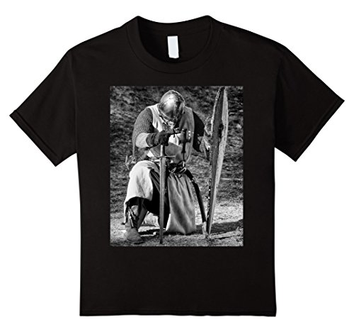 Kids Templar Knight T-Shirt Medieval Order Sword & Flag Emblem 10 Black