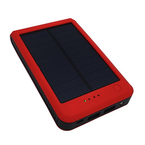 Solar Power Bank 15000mAh Portable Dual USB Solar Charger External Battery Pack with LED Flashlight Backup Phone Adapter Charger for Bluetooth, iPhone, HTC, Nexus, Camera, Tablet - Red