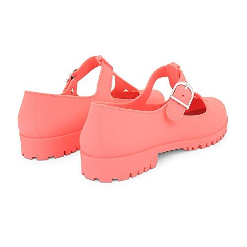 T Gelatine Flat Scarpe Donna Footwear Cut Geek bar Jane Mary Jelly Corallo Out Pompe Sensation xqRA0nAw7U