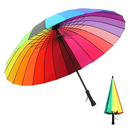 (nattiness Rainbow Umbrella, Compact Travel Umbrella - Windproof, Reinforced Canopy, Double Hand Open Steel Bone Rainbow Umbrella Straight Handle 24 Bone Black Steel Umbrella Stand)