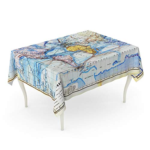 Emvency Rectangle Tablecloth 60 x 102 Inch Country The Old Map of Planisphere World Colors in It Vintage from Late 19Th Century Trousset Encyclopedia 1886 1891 Atlas Table Cloth