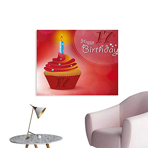 Tudouhoho 17th Birthday Cool Poster Sweet Seventeen Party Theme with Cupcake Dessert and Candle Image Photographic Wallpaper Red and Vermilion W32 xL24]()