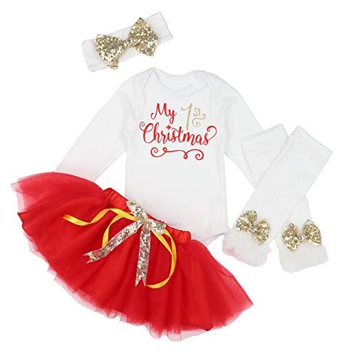 KANGKANG Baby Girl First Christmas Tutu Dress Outfit My 1st Christmas Romper + Leg Warmers + Headband 6-9 Months Red -