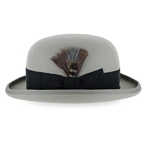 Belfry Tammany Men's Vintage Style Dress Fedora 100% Pure Wool Felt Derby Bowler Hat in Black Or Grey (XXLarge, Pearl) (20s Style Hat Men)