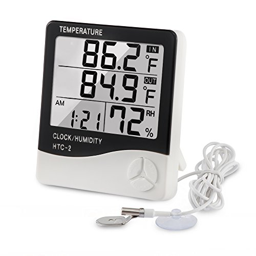 Outdoor Temperature Alarm - VADIV Digital Thermometer Hygrometer Indoor Outdoor Temperature Meter Humidity Monitor with LCD Alarm Clock, 3M Probe Cord for Bedroom Greenhouse Garage Warehouse,Fahrenheit or Celsius