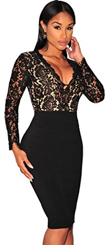 TomYork Black Lace Nude Illusion Long Sleeves Dress(Size,L) (Sexy Maid Lingere)