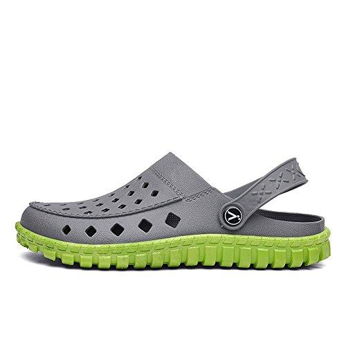 Men's uomo Mules da 42 Flat bianco Color Green Vamp impermeabili Slip spiaggia Heel da shoes On Nero Sandali Dimensione EU Scarpe Gray Jiuyue Hollow 5Eq6xRZWwn