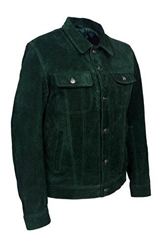 « CAMIONNEUR » Estyle Cuir En SUEDE Vert 1280 véritable Peau de vachette, classique occidentale Veste homme
