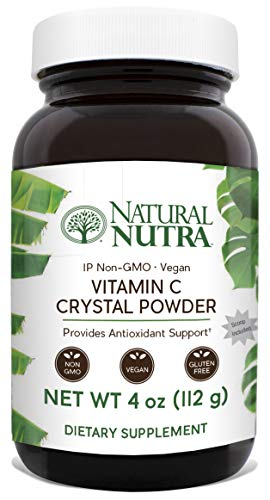 Natural Nutra Pure Vitamin C Crystal Powder from Ascorbic Acid, Non GMO, Potent and Premium Grade, Vegan and Vegetarian, Herbicide, Pesticide and Soy Free, Scoop Included, 4 Oz