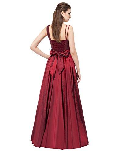 Dresstells®Vestido De Fiesta Mujer Largo Un Hombro De Tafetán Vestido De Boda De Noche Rojo