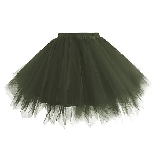 Hanpceirs Women 1950s Short Vintage Tulle Petticoat Skirt Ballet Bubble Tutu ArmyGreen 2X -