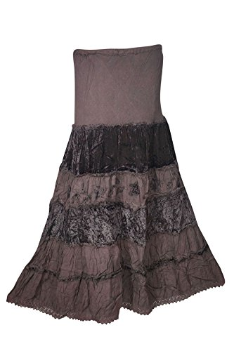 irt Velvet Touch Rayon A-line Boho Tiered Gypsy Medieval Skirts (Brown 1) (Rayon Velvet Skirt)